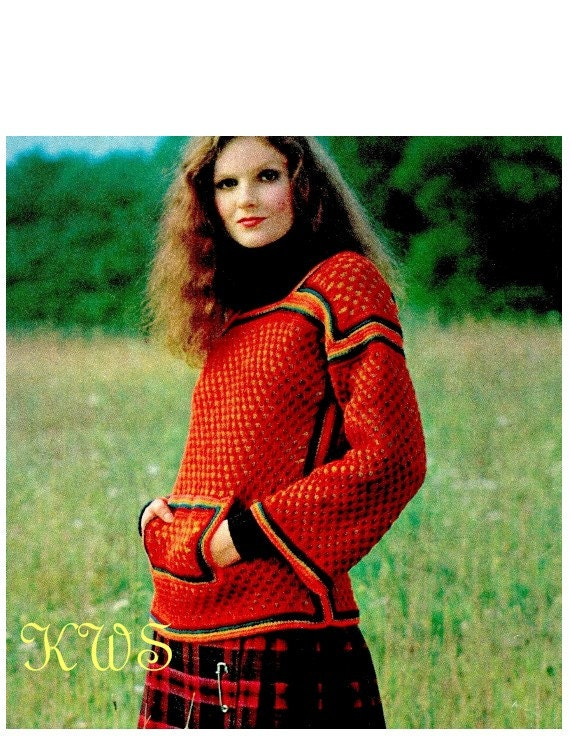 Kangaroo Hoodie Knitting Pattern : Vintage Hippie Knit Pullover Sweater with Kangaroo Pockets