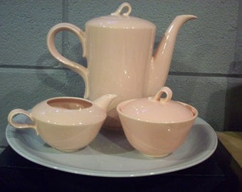 JUBILEE SHELL PINK Coffee Pot Set Creamer Sugar Bowl Mid Century Homer Laughlin