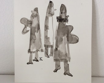 """Three Butterfly Clown Angels in Spats, One Wearing a Ruff original drawing, brush and ink by Melanie Knox 8""""x10"""""""