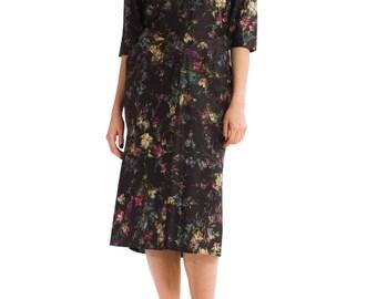 1980s Vintage Adorable Vibrant Multicolored Floral Print Black Dress  Size: S/M