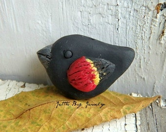 Fluffy Red Wing Blackbird- polymer clay charm bird bead. black bird. red. yellow. rustic woodland. realistic bird bead. Jettabugjewelry