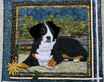 Bernese Mountain Dog on a Lazy Afternoon, Fiber Art Landscaped Country Scene, Handmade Wall Hanging Art Quilt
