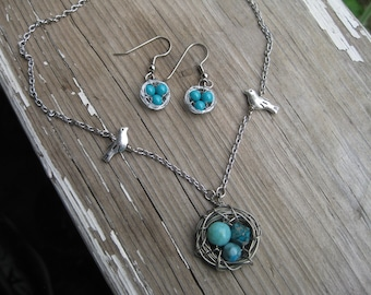 Robin Egg Three Bird Nest Necklace and Earrings Set, Three Egg Nest Necklace and Earrings