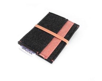 Little Wallet, Card Organizer, Card Wallet, Felt Wallet, Small Wallet, Coin wallet- Choose your model- Graffiti Black & Salmon