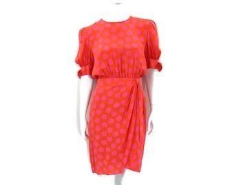 1980's Escada Silk Dress Orange with Pink Polka Dots