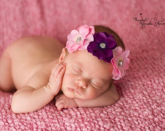 Pink and Purple Hydrangea Headband