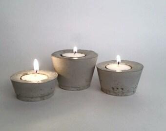 Tea Light Holder, Concrete Candle Holder, 3 Cement Candle Holders, Centerpiece
