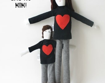 Personalized Mother and child dolls, portrait cloth dolls, custom likeness dolls from picture, unique mom daughter son family gift