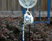 Blue and White Hanging Saucer Flower Hand Strung Wind Chime Suncatcher for Outdoor Garden Decor