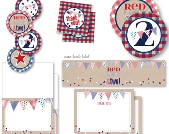 Red, White and Two!  2nd birthday patriotic red white and blue entire party decor package - instant digital download party decor