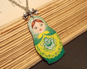 Green and Silver Matryoshka Doll Necklace