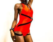 Red and Black One Piece, Swimwear, Alternative Clothing Cynt D B