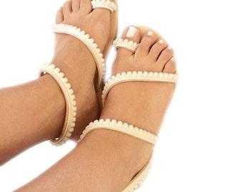 Leather flat sandals. Beach Wedding Sandals. Bridesmaid Sandals. Leather women sandals. Tiny Pom Pom sandals. Minimalist Sandals