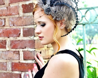 New Orleans Lady Soft Grey & Silver Fascinator