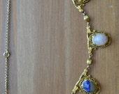 Beautiful antique edwardian art deco 10k gold filled filigree festoon necklace egyptian revival scarab necklace rose quartz lapis / OFTUJY