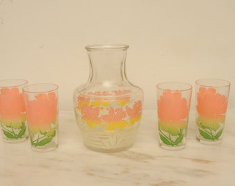 Mid Century Juice Glasses Pitcher PEACH Floral
