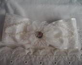 Toddler White Bow Headband - Baptismal Headband - First/1st Communion Headband - Christening Headband - Satin Bow Headband - White Headband