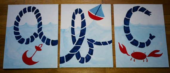 Three 11X14 nautical boats art - Row your Boats or Baby Boats pottery sailboat art to match barn kids quilt