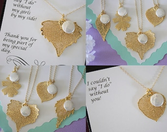 7 Bridesmaid Necklace, Gold Leaf, Real Leaf, Pearl Necklace, Thank you card, Leaf Necklace, Leaf Pendant, Bridesmaid Gift, White Pearl
