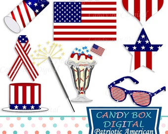 Patriotic Clipart, 4th Of July, Fourth Of July, Patriotic Clip Art, Red White And Blue, Stars And Stripes, Flag Clipart - Commercial Use OK