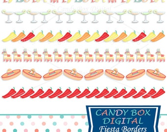 Mexican Fiesta Border Clipart, Mexican Clip Art with Chili Peppers, Sombreros and Pinatas - Commercial Use OK