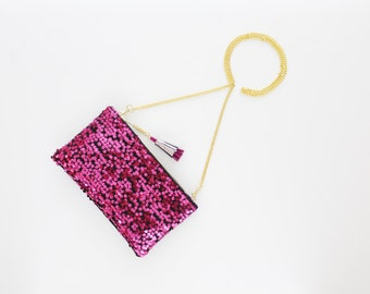 SALE / KATE 13 / Bright pink sequin & velvet shoulder chain purse with leather tassel - Ready to Ship