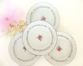 Vintage FOUR Royal Swirl Fine China dessert plates or b and b, rose floral, silver trim white gray scroll Japan Mid Century tea party plates
