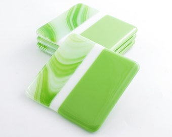 Lime Green Fused Glass Coasters, Retro Barware, Green Home Decor, Modern  Coasters, Part 52