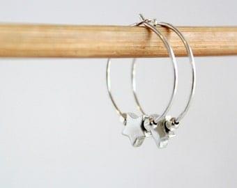 Celestial Earrings Small Sterling Silver Star Hoop Earrings Minimalist Jewelry Star Earrings