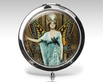 Personalized Compact Mirror | Steampunk Accessory | Magnifying Mirror | Teal Brown | Compact Mirror Party Favor | Bridesmaid gift  C61