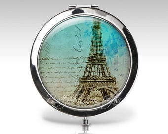 Personalized Compact Mirror | Eiffel Tower Accessory | Magnifying Mirror | Paris France | Compact Mirror Party Favor | Bridesmaid gift  C63
