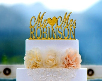 Acrylic Wedding Cake Topper, Peronalized Mr and Mrs cake Topper, Custom Made Last Name Cake Topper Q004