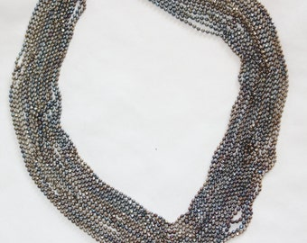 Vintage Torsade Necklace Wide Multi Strand Silver Ball Chain 1950s Jewelry