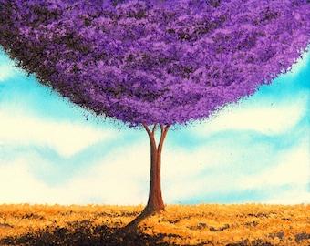 Purple Tree Art Print, Trees in Art Bright Home Decor, Modern Minimalist Art, Giclee Print of Lavender Tree Painting, Contemporary Wall Art