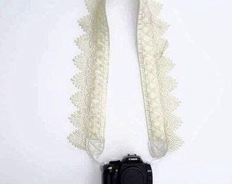 DSLR Camera Strap / Vintage Lace Camera Strap / Creamy White lace / Photography / Accessory