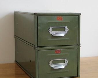 SALE - Vintage Metal Drawers - Pair of 'Veteran Series British Made' Green Metal Office Drawers, Library Drawers, Index Drawers