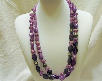 Double Strand Purple Beaded Necklace