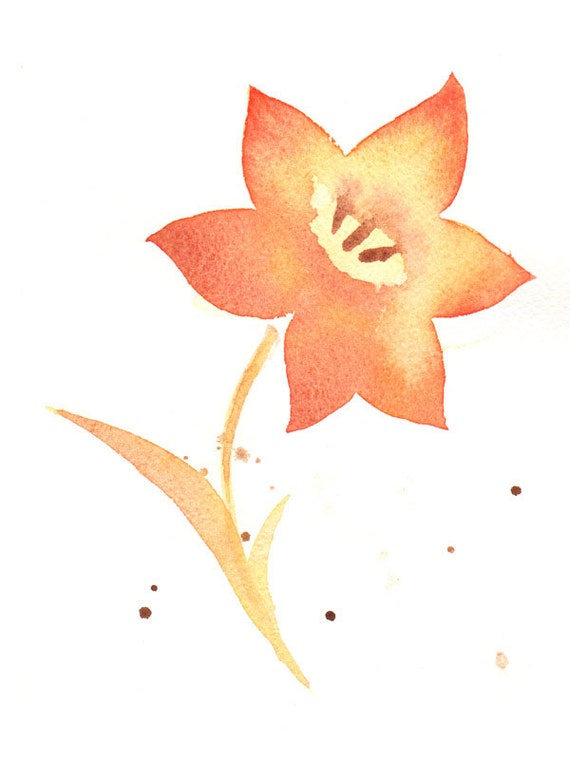 Flower, flower print, abstract giclee, watercolor, watercolor painting, watercolor art print, abstract flower, watercolor print 6x8