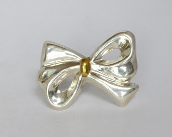 Adorable Vintage .925 Sterling Silver and Gold Bow Pin Brooch Large 20 grams Taxco Mexico Retro