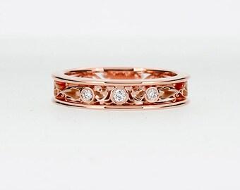 Thin diamond filigree ring, rose gold engagement ring, filigree wedding ring, unique, diamond wedding band, vintage, custom, gold lace ring
