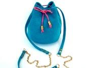LIGHT BLUE leather bucket bag / Handmade small leather purse / Light blue Italian suede leather