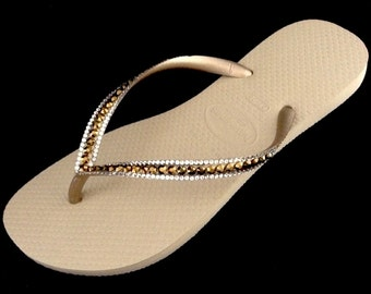Gold Havaianas Slim sandals Sand Gray Golden Metallic Beige Tan w/ Swarovski Dorado Rhinestone Jewels Gold Flip Flops Shoes