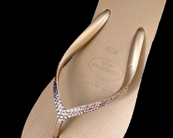 "Rose Gold Havaianas Custom Rhinestone Bling High Fashion 2.4"" Crystal Wedge Heel Flip Flops w/ Swarovski Vintage Rose  Blush Thongs Shoes"
