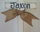 Hand painted childs personalized wooden wall cross with burlap ribbon baptism cross baptism gift child's baptism child's christening