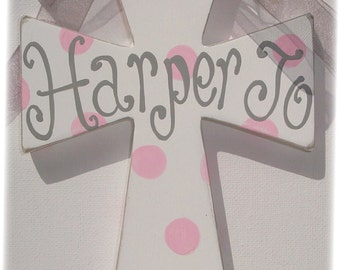 Painted personalized childs wall cross baptism gift godchild christening pink grey painted kids cross