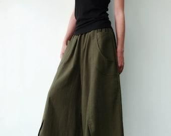 NO.41 Dark Olive Cotton Wide Leg Pants, Unique Pockets Capri Trousers, Women's Pants