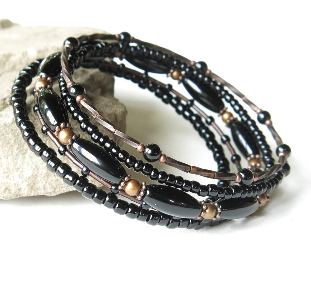 Stacked bead bracelets beaded copper & black bangles 5 in