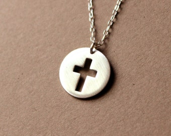 Handmade Silver Cross Necklace - Sterling Silver Cross Necklace - Cross Jewelry - Disk Pendant