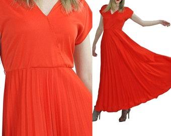 1970s Maxi Dress 70s Grecian Goddess Pleated skirt short sleeve Empire waist Vintage Orange Medium