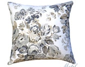"SALE 35.00 18"" or 20"" - Floral Pillow Cover - Black Floral Pillow - Grey & Ivory Pillow Cover - Designer Throw Pillow - Motif Pillow"